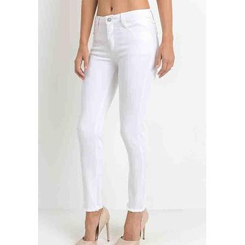Just Black - White Clean Fray Skinny Jeans