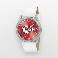 Game Time Glitz Kansas City Chiefs Silver Tone Crystal Watch - NFL-GLI-KC - Women (White)
