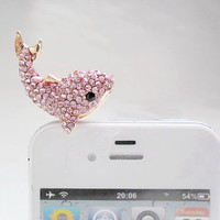Bling Pink Red White Crystal Whale Dolphin Dust Plug 3.5mm Phone Charm Headphone Jack Earphone Cap for iPhone 4 4S 5 6 iPad HTC Samsung