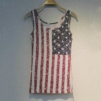 Fade Color Style Vest with USA Stars and the Stripes Flag Print KKL002
