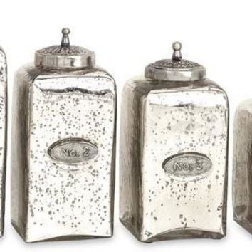 Numbered Mercury Glass Jars with Lids - Set of 4