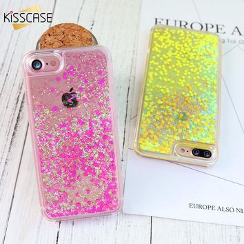 KISSCASE Bling Quicksand Cute Girl Phone Case for iPhone 7 6 6s 7 Plus Quick Sand Woman Case for iPhone 5s 5 SE 4s Cover Capa
