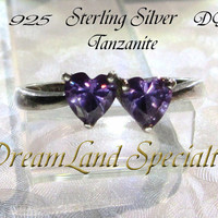 Tanzanite Sterling Ring Vintage Jewelry Silver Double Heart Size 8 PV