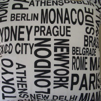 Black and White Lettering Metro Cities (including London, New York, Paris, Rome, Sydney, Tokyo)  Fabric Pillow Cushion