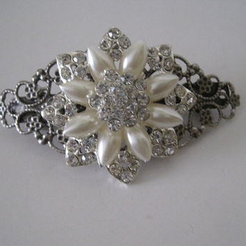Gorgeous Antique Silver Filigree Pearl and Clear Crystals Bridal Hair Clip  Accessories Clips for Hair Wedding Prom Homecoming