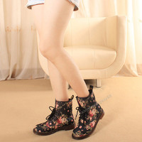Women's Flower All-match Martin Boots Combat Punk Ankle Boots Fashion shoes SS10