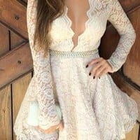 Lace Plunging Neck Long Sleeve Spliced Dress
