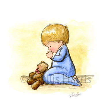 Little Boy Praying- The faith of a child - Boys Nursery Wall Art Print