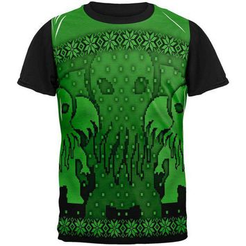 PEAPGQ9 Ugly Christmas Sweater Big Cthulhu Greater Gods All Over Mens Black Back T Shirt