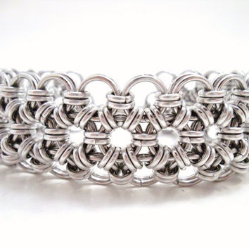 Chainmaille Bracelet Cuff Japanese Lace 12 in 2