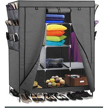 Grey 69-inch Portable Closet Organizer Shoe Rack Bedroom Wardrobe