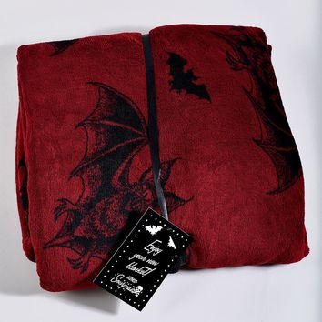Sourpuss Red & Black Batt Attack Fleece Throw Blanket