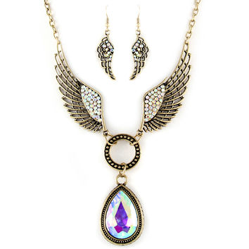aurora borealis angel wing necklace and earring set