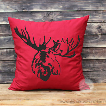 Moose throw pillows decorative throw pillows hunting farmhouse pillow moose pillow Christmas pillows woodland home decor 26x26 inches pillow