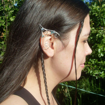 Silver Plated Handmade Wire Wrapped Elf Ear Cuffs With Blue Seed & Faceted Glass Beads, Faery Earcuffs, Pixie Ear Cuffs LARP Mermaid Ears
