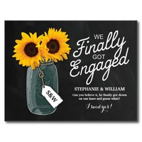 ELEGANT SUNFLOWERS FINALLY GOT ENGAGED INVITATION POSTCARD