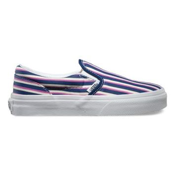 Vans Kids Multi Stripes Classic Slip-On (blue/radiant orchid)