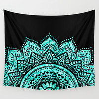 Black and Blue Teal Mandala Wall Tapestry by Haroulita | Society6