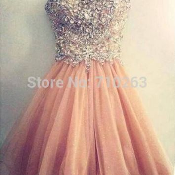 2016 Hot Sale A Line Strapless Short Mini Cocktail Dresses with Beaded Formal Party Prom Gown Custom Made 2 4 6 8 10 12 14 16