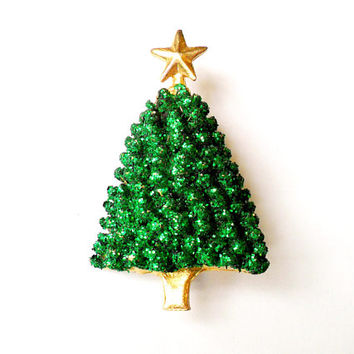 Vintage Glitter Christmas Tree Brooch Holiday Green Sparkle Gold Tone Textured 1980s Ugly Sweater Broach Pin