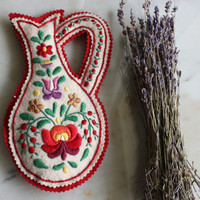 Embroidered felt wall hanging Hungarian Matyo Vintage jug shape gift item