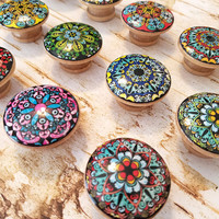 Mandala Knobs, Choose Style By Number, Round Drawer Pulls, Colorful Dresser Knobs, Oriental Mandala Designs, Made To Order