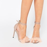 Little Mistress Monroe Faux Fur Ankle Strap Heeled Sandals at asos.com