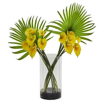 Silk Flowers -Calla Lily And Fan Palm Arrangement In Cylinder Glass