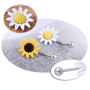 ac ESBO2Q Fashion Belly Button Barbell Ring Navel Piercing Women Body Jewelry Shining Sunflower Flower Bar 2 Colors White Yellow