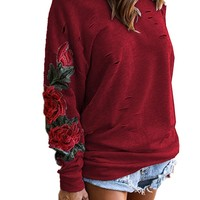 Long-Sleeved Roses Embroidery Sweater