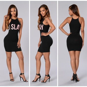 Black Letter Print Halter Neck Bodycon Dress