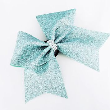 Mint green cheer bow, Cheer bow, glitter Cheer bow, mint glitter cheer bow, cheerleader bow, cheerleading bow, cheer bows, softball bow, bow