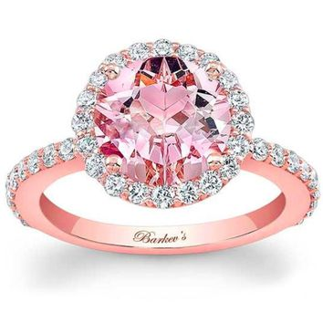 Barkev's Round Cut Morganite Halo Diamond Engagement Ring