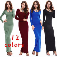 Off Shoulder Long Sleeve Maternity Gown Pregant Women Solid Evening Dress [8833482764]