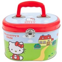 Hello Kitty - In Front of House Oval Tin Tote Box
