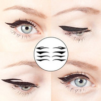 Set of 4 Pairs of Black Color Winged Eyeliner Temporary Tattoo for Clubbing Party