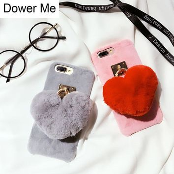 Dower Me Fashion Super Cute Love Rabbit Fur Ball Pendant Winter Furry Soft Phone Case Cover For iPhone X 8 7 6 6S Plus