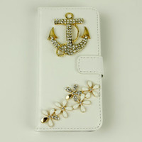 Bling anchor iphone 4 iphone 5 wallet case phone cases floral iphone 5c case samsung galaxy s5 case stud note 3 note 2 s4 s3 mini flip case