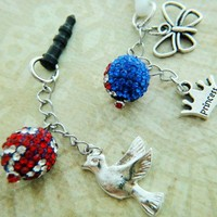 Bling Jack Union Crystal Ball Phone Plug or Keychain Red Blue Flag UK