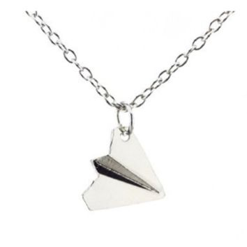 Silver Plated Airplane Pendant Chain Unisex Fashion Necklace