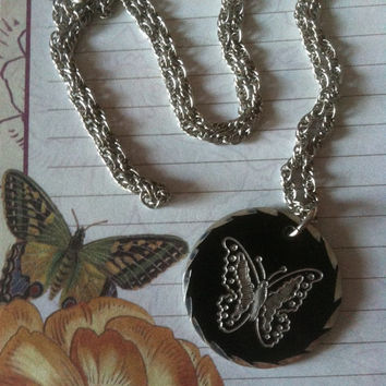 Butterfly Necklace Vintage Silver and Pewter Butterfly Pendant Black and Silver Butterfly Necklace Butterfly Lovers Fall Necklace Christmas