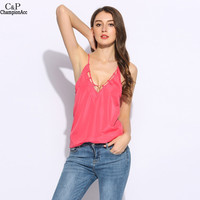FANALA Women Summer Tank Tops Spaghetti Straps Solid Watermelon Red Women Tank Top Sleeveless Pullover Chiffon Tank