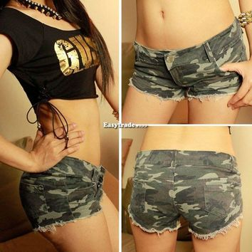 Women Girl Lady Jeans Camouflage Army Military Camo Shorts Green Brown Woodland