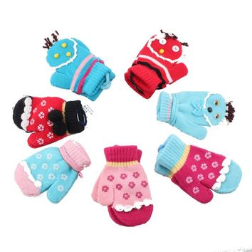 super warm child kids gloves toweled super wear-resistant Cute multiple cartoon