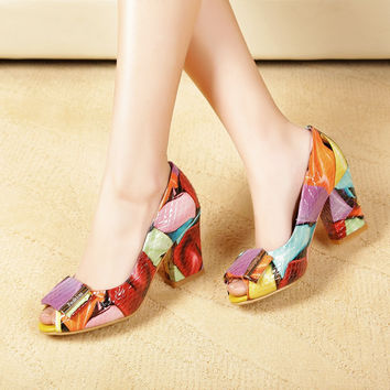 Real leather pumps women high quality thick heels sexy 2017 ladys Snake elegant office shoes luxury peep toe Party big size 10