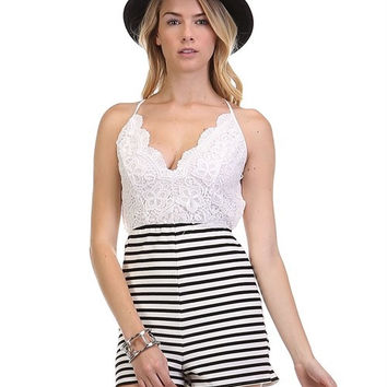 OPEN BACK STRIPE ROMPER