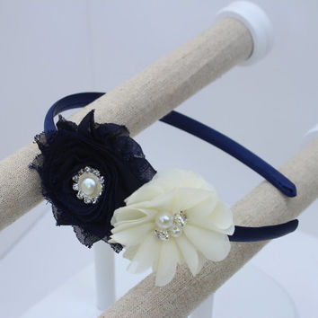 navy blue headband navy blue and ivory flower girl headband navy blue and ivory headband navy blue wedding headband navy girls headbands