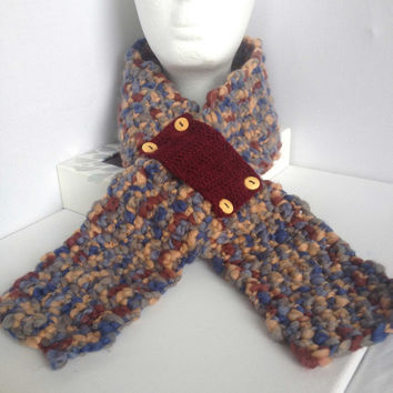 Chunky Scarflette, Hand Crocheted, Blue and Brown, Short Scarf, Wooden Buttons, Dark Red Neck Warmer, Knit Neck Cosy, Thick Yarn Scarf
