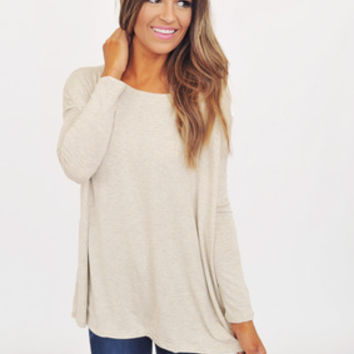 Long Sleeve Piko Top- Oatmeal