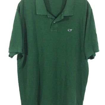 Vineyard Vines Shep & Ian Knit Cotton Green Whale Logo Polo Casual Shirt Mens XL - Preowned
